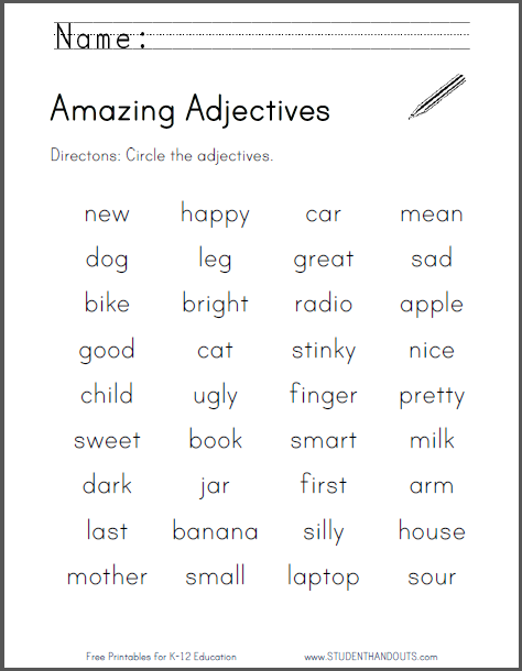 Slobbery image within adjectives printable worksheets