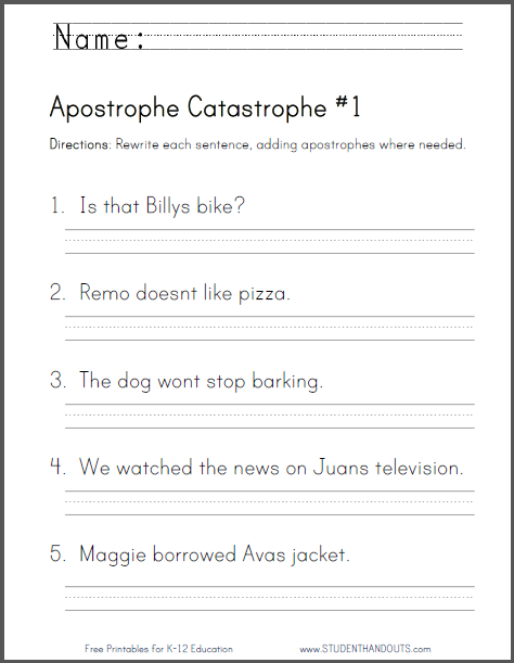 Apostrophe Catastrophe Grammar Worksheets - Free to print (PDF files). CCSS: L.2.2.c