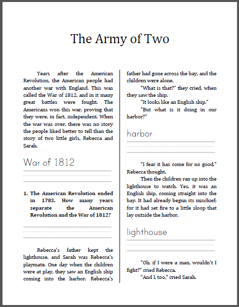 War Of 1812 Worksheet Kidz Activities