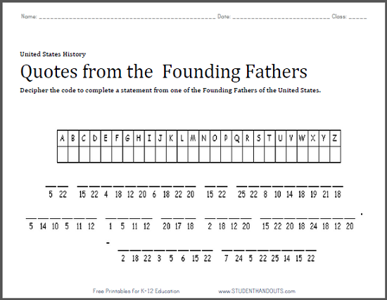 Benjamin Franklin Quote Puzzle - Worksheet is free to print (PDF file).