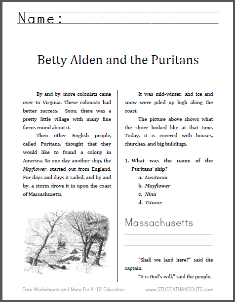 Betty Alden and the Puritans - History workbook for lower elementary. Free to print (PDF file).