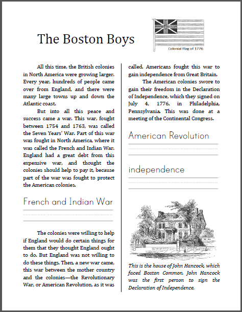 """The Boston Boys"" - Workbook for lower elementary. Free to print  (PDF file)."