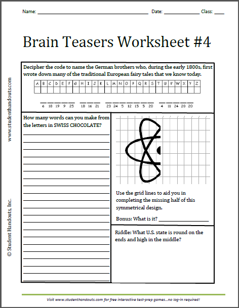 Brain Teasers Worksheet #4