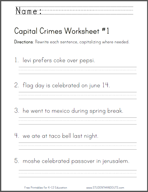 Capital Crimes Grammar Worksheets - Free to print (PDF files). CCSS.ELA-LITERACY.L.2.2.A