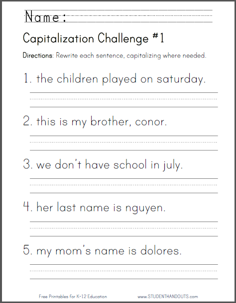 Capitalization Challenge Worksheets - Free to print (PDF files) for lower elementary ELA: English Language Arts students.