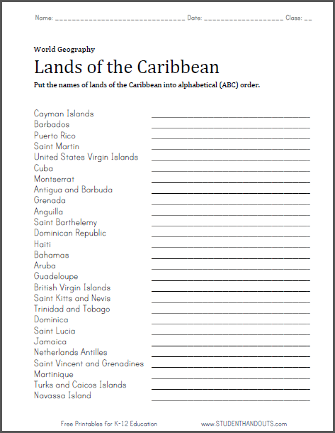 Caribbean Lands in ABC Order Worksheet | Student Handouts