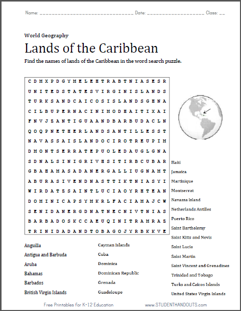 Caribbean Lands Word Search Puzzle Student Handouts