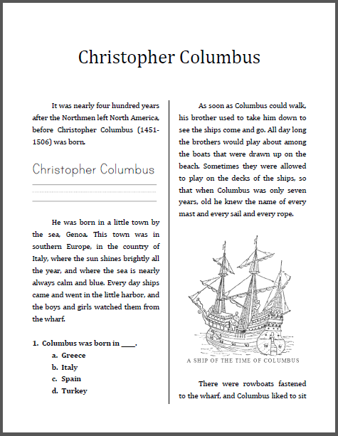 Christopher Columbus Workbook - For lower elementary students. Free to print (PDF file).
