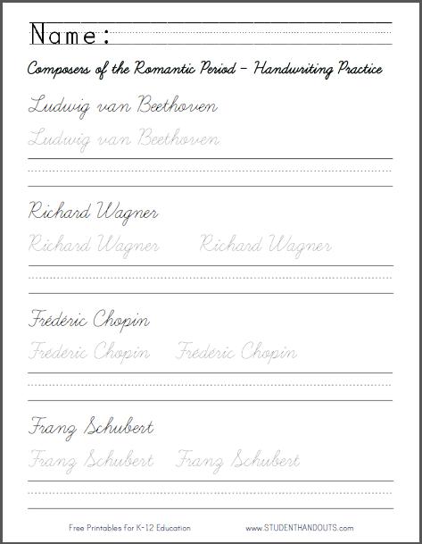 Romantic Period Composers - Cursive Script or Print Manuscript Handwriting Practice Worksheet
