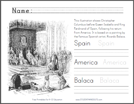 Columbus by Ricardo Balaca Coloring Sheet - Free to print (PDF file). Includes handwriting and spelling practice.