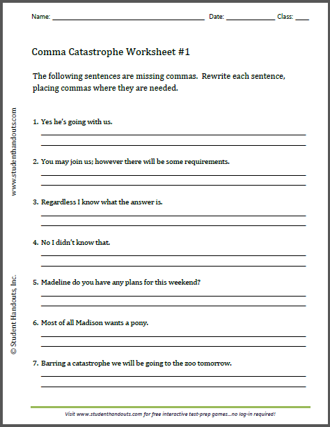 Comma Catastrophe Worksheets - Free to print (PDF files).
