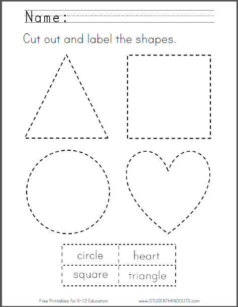 Cut Out and Label the Shapes - Free to print (PDF fille).