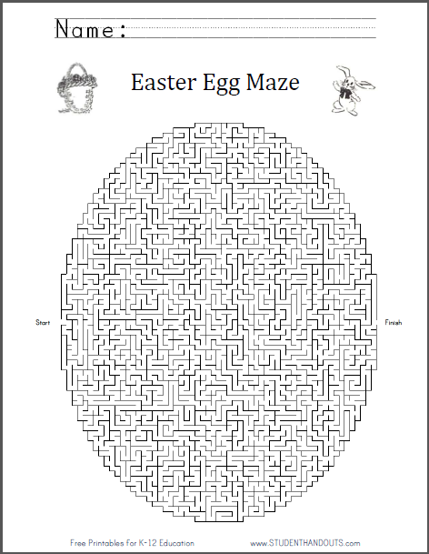 Easter Egg Maze Worksheet - Free to print (PDF file) for all ages.