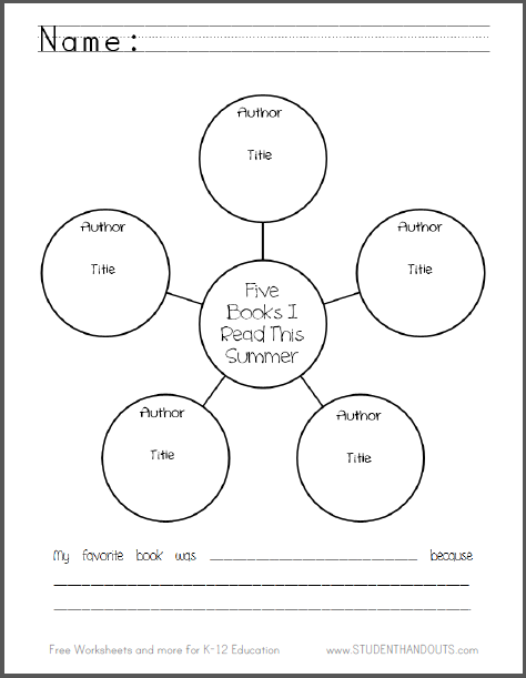 Five Books I Read This Summer - Free printable graphic organizer worksheet (PDF file).