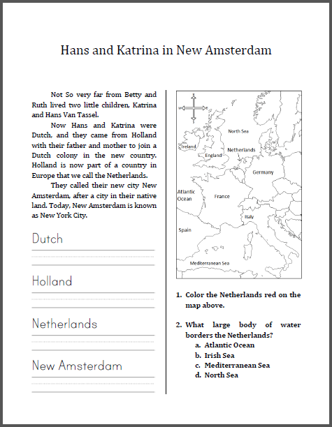 Hans and Katrina in New Amsterdam - Free printable workbook for lower elementary.