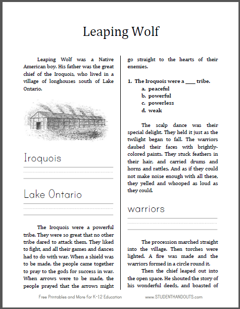 Leaping Wolf of the Iroquois Workbook for Kids - Free to print (PDF file).