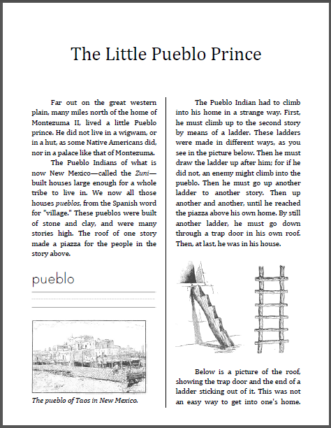 The Little Pueblo Prince Workbook for Children - Free to print (PDF file).