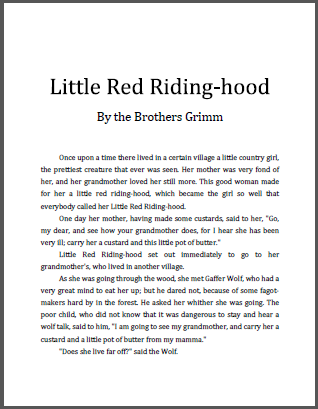 Little Red Riding-hood eBook with Worksheets - All are free to print (PDF files). Coloring, handwriting and spelling practice.