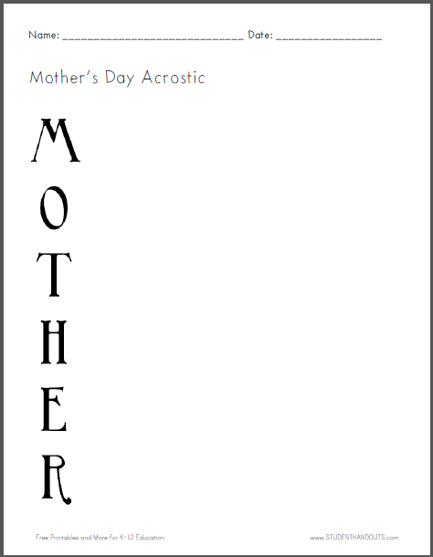 Mother's Day Acrostic Poem Worksheet - Free to print (PDF file).