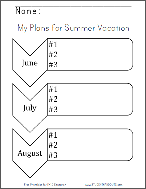 My Plans for Summer Vacation Worksheet | Student Handouts