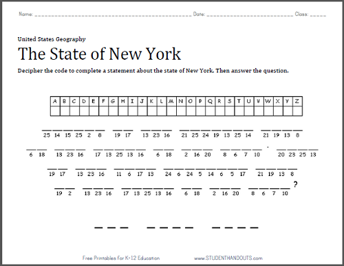 New York: Decipher the Code Puzzle Worksheet - Free to print (PDF file) for grades four and up.