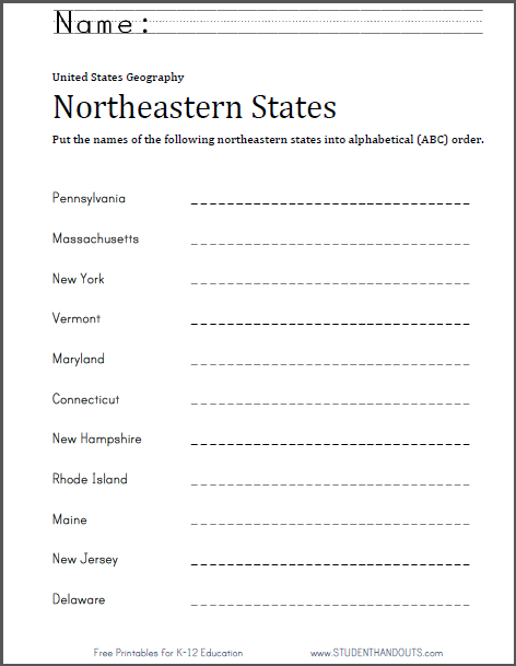 Northeastern States ABC Order Worksheet - Free to print (PDF file).