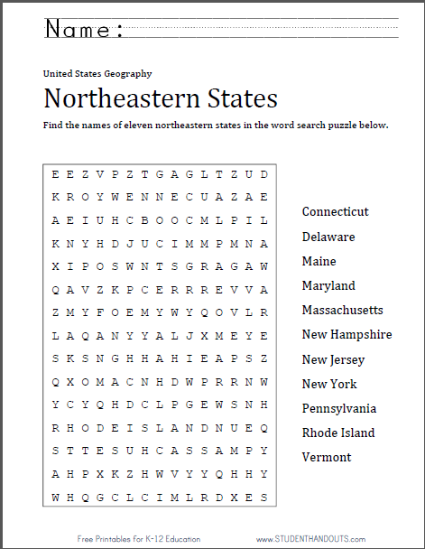 Northeastern States (USA) Word Search Puzzle - Free to print (PDF file) for grades four and up.