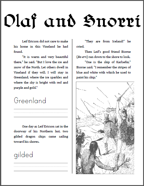 Olaf and Snorri Workbook for Kids - Free to print (PDF file).