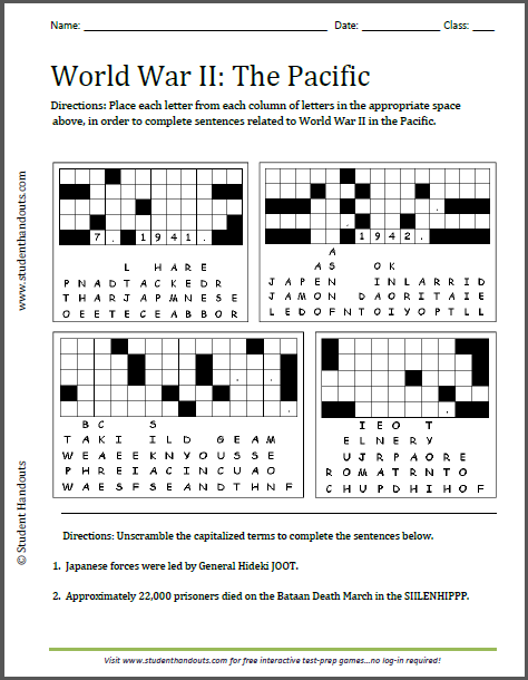 World War II in the Pacific Puzzles Worksheet - Free to print (PDF file) for high school United States History students.