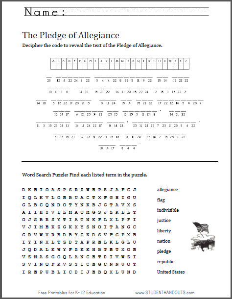 photo regarding Pledge of Allegiance Words Printable identified as Pledge of Allegiance Puzzles Worksheet University student Handouts
