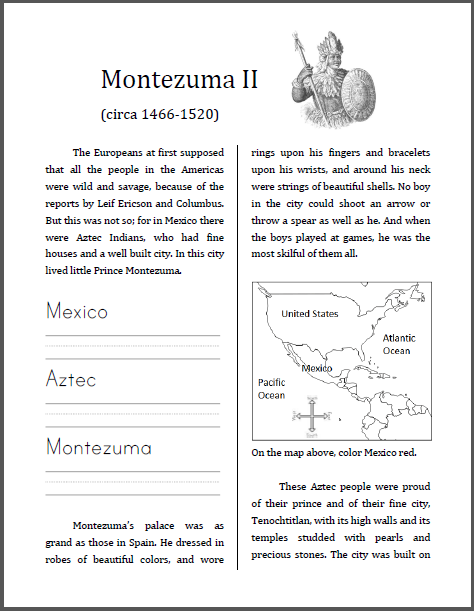 Montezuma II (1466-1520) Workbook for Kids - Free to print (PDF file).