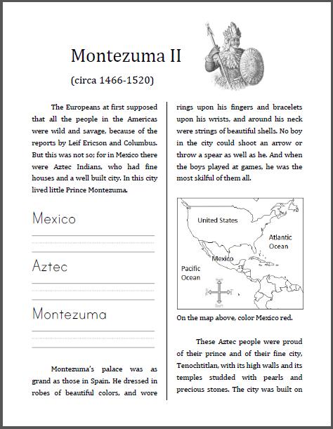 Montezuma II (1466-1520) Workbook for Kids - Free to print (PDF file).