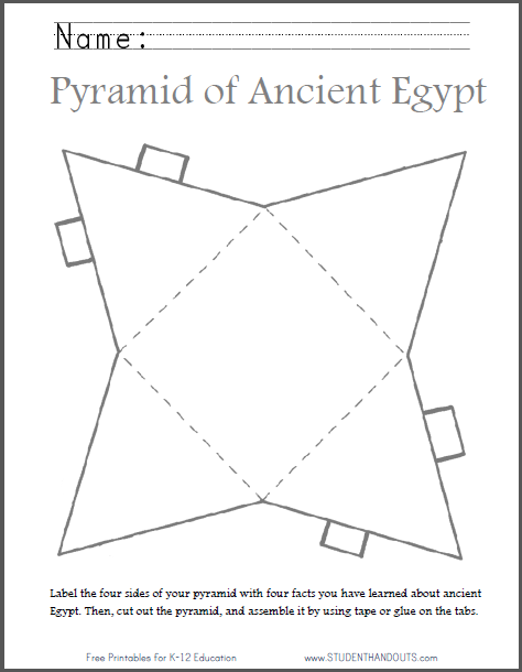 graphic regarding Printable Pyramid titled Do it yourself Historic Egyptian Pyramid - Template in direction of Slash Out University student