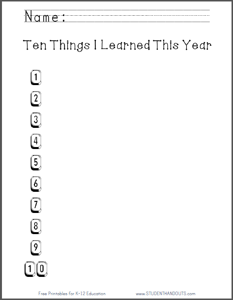 Ten Things I Learned this Year - Free to print (PDF file) for elementary school ELA: English Language Arts students.