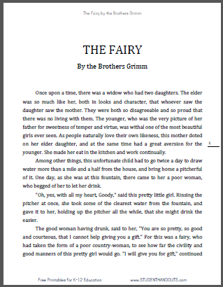 """The Fairy"" by the Brothers Grimm - eBook with Worksheets - Free to print (PDF files)."
