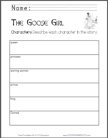 """The Goose Girl"" eBook with Worksheets - Free to print (PDF files)."