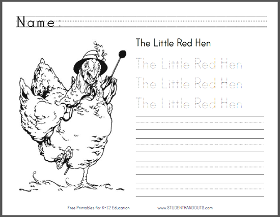 - The Little Red Hen EBook With Worksheets Student Handouts