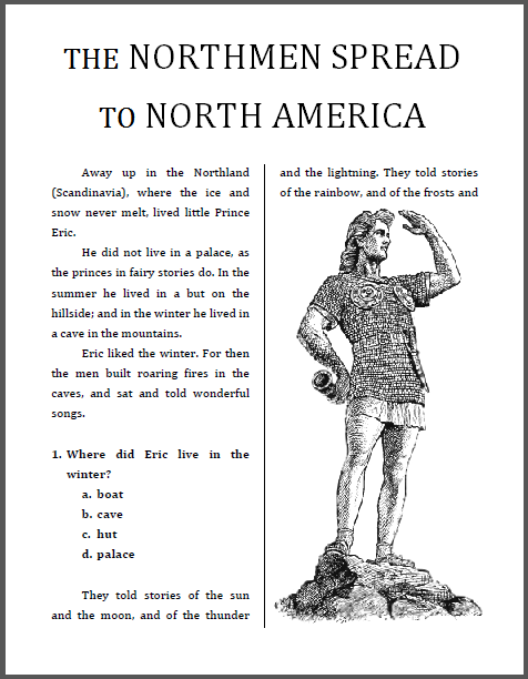 """Northmen in North America"" Workbook for Lower Elementary Students - Free to print (PDF file)."