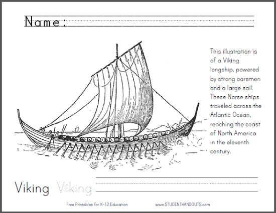 Viking Longship Coloring Page - Free to print (PDF file).
