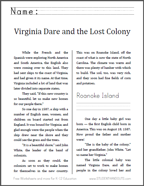 Virginia Dare and the Lost Colony - Free printable workbook for lower elementary.
