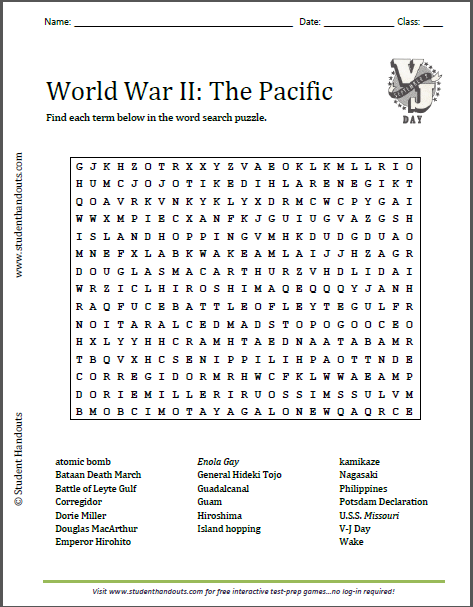 World War II in the Pacific Word Search Puzzle - Free to print (PDF file) for United States History students.