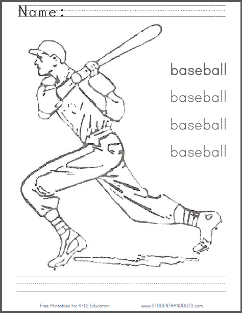 Baseball Coloring and Writing Worksheet - Free to print (PDF file).
