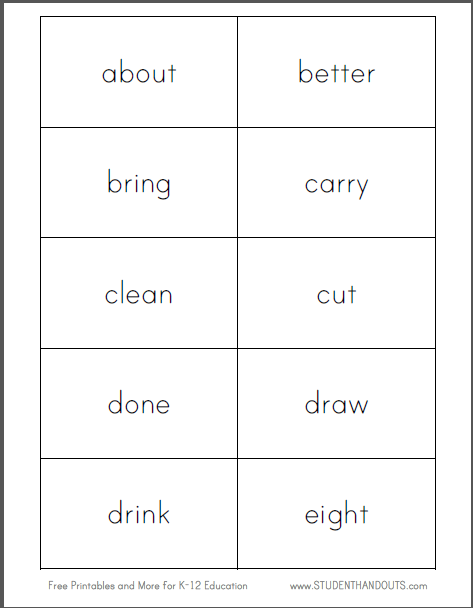 Dolch Third Grade Words Flashcards - Free to print (PDF file).