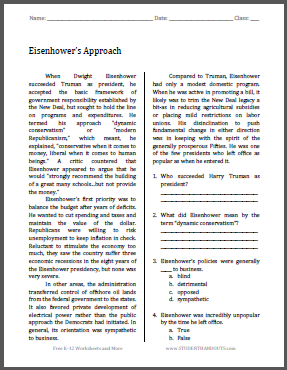 Eisenhower's Approach - Free printable reading with questions.
