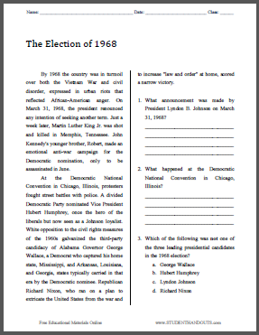 The Election of 1968 - Free printable reading with questions (PDF file) for high school United States History students.