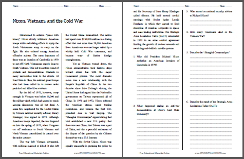 Nixon, Vietnam, and the Cold War - Free printable reading with questions (PDF file).