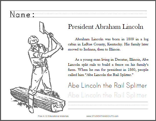 Abe Lincoln the RailSplitter Primary