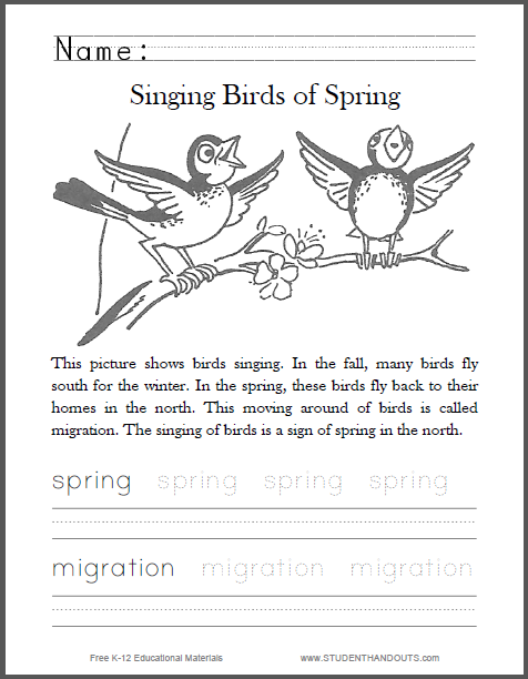 Singing Birds of Spring Worksheet - Free to print (PDF file) for primary school students.