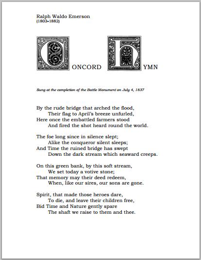 """Concord Hymn"" by Ralph Waldo Emerson (1803-1882)"