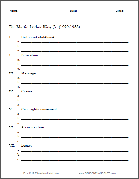 photo regarding Biography Graphic Organizer Printable identify Martin Luther King Biography Determine Worksheet College student